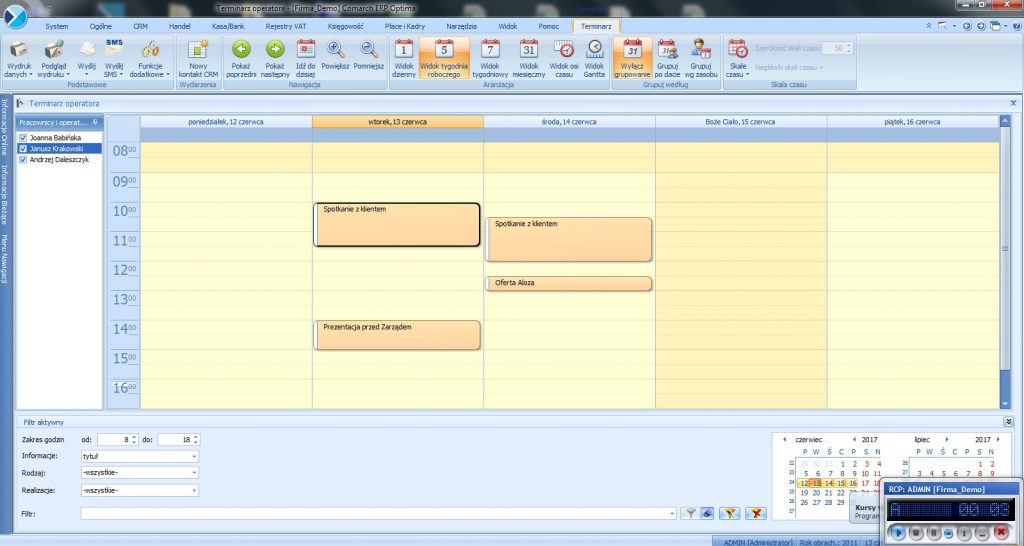 CRM Comarch ERP Optima demo